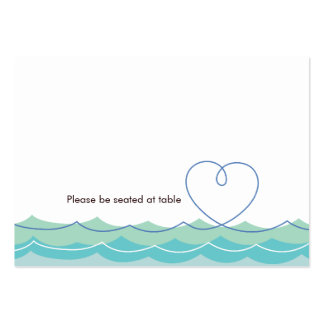 Blue Waves Loopy Heart Beach Wedding Place Card Pack Of Chubby Business Cards