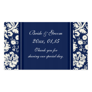 Blue White Damask Wedding Favor Tags Pack Of Standard Business Cards