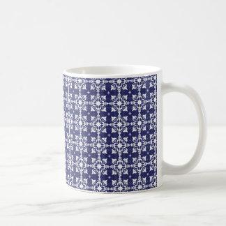 Blue & white floral pattern basic white mug