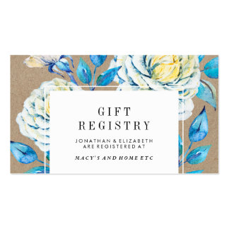 Blue & White Kraft Rose Gift Registry Insert Pack Of Standard Business Cards