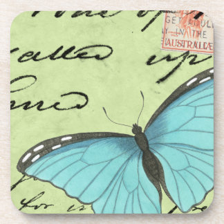 Blue-Winged Butterfly on Teal Postcard Beverage Coasters