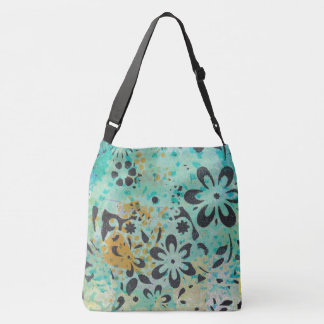 Blue & Yellow With Black Flowers Gel Monoprint Tote Bag