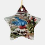 Bluebirds in Winter Vintage Christmas Ceramic Star Decoration