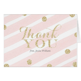 Blush Pink and Gold Baby Shower   Thank You Cards
