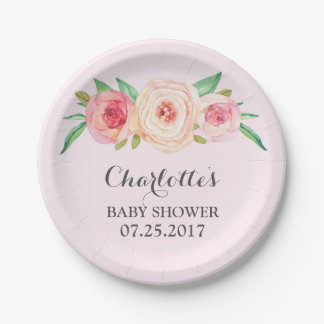 Blush Pink Floral Baby Shower Plate 7 Inch Paper Plate