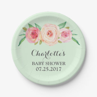 Blush Pink Floral Mint Green Baby Shower Plate 7 Inch Paper Plate