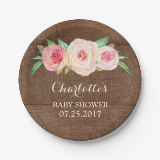 Blush Pink Floral Wood Baby Shower Plate 7 Inch Paper Plate