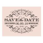 Blush Pink Save the Date | Swirl and Flourish Postcard