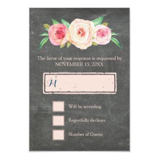 Blush Pink Vintage Floral Chalkboard Wedding RSVP 9 Cm X 13 Cm Invitation Card