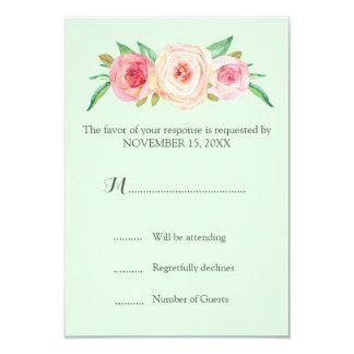Blush Pink Vintage Floral Mint Wedding RSVP 9 Cm X 13 Cm Invitation Card