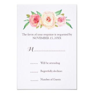 Blush Pink Vintage Floral Wedding RSVP 9 Cm X 13 Cm Invitation Card