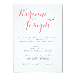 Blush Pink Wedding Invitation - Calligraphy Style