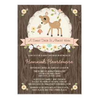 BLUSH PINK WOODLAND DEER BABY SHOWER 13 CM X 18 CM INVITATION CARD