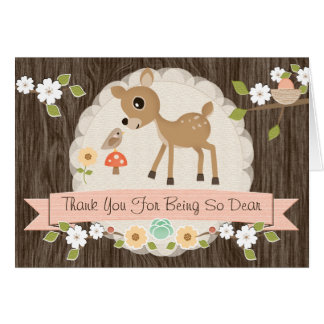 BLUSH WOODLAND DEER BABY SHOWER THANK YOU CARD