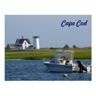 Boat and Lighthouse Chatham Cape Cod Postcard