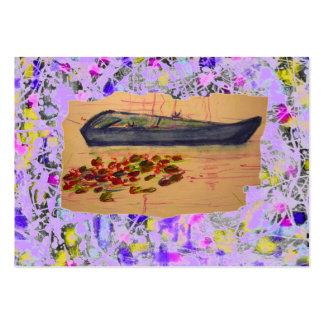 boat and water lilies torn sketch drip pack of chubby business cards
