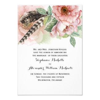 Boho Feathers and Flowers Wedding 13 Cm X 18 Cm Invitation Card