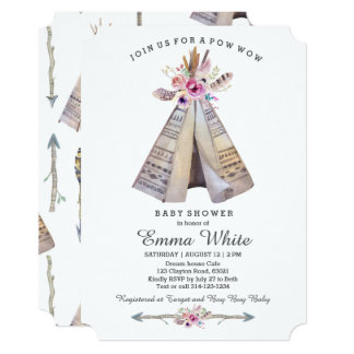 Boho Tribal Teepee Floral Baby Shower 13 Cm X 18 Cm Invitation Card