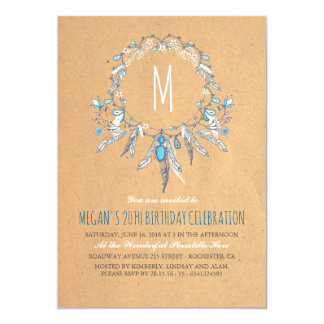 Boho Vintage Dreamcather Birthday Party 13 Cm X 18 Cm Invitation Card
