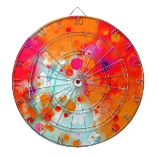 Bold and Cool Orange Teal Dreamy Floral Abstract Dart Board