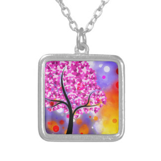Bold & Chic Tree of Hearts Watercolor Abstract Square Pendant Necklace