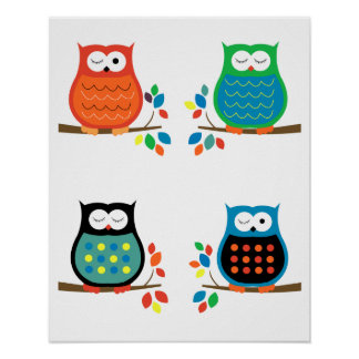 Bold Colorful Owls Nursery Prints (Four 8x10) Poster