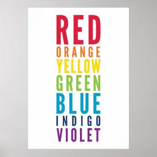 BOLD EDUCATIONAL CLASSROOM rainbow color art chart Poster