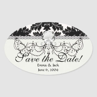 bold intricate black damask on white oval sticker