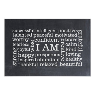 Bold Positive Thinking I AM Affirmations Poster