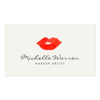 Bold Red Lips Watercolor Makeup Artist Pack Of Standard Business Cards
