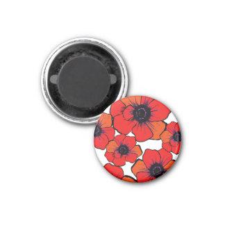 Bold Red Orange Poppies 3 Cm Round Magnet