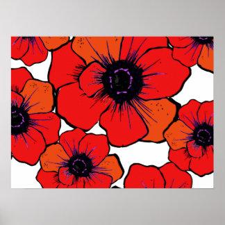Bold Red Orange Poppies Poster
