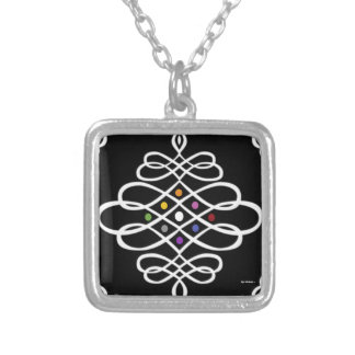 Bold Scrollwork Medallion Design Square Pendant Necklace