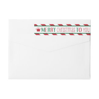 Bold Stripes Merry Christmas Label Wraparound Return Address Label