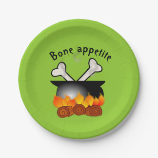 Bones in a Cauldron Halloween Party Napkins 7 Inch Paper Plate