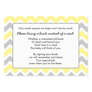 Book Baby Shower insert card yellow gray chevron Pack Of Chubby Business Cards