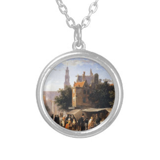 Bookstall on the Noordermarket by Cornelis Springe Round Pendant Necklace