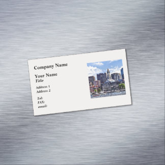Boston MA - Skyline With Custom House Tower Magnetic Business Cards
