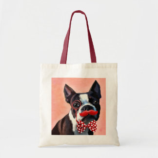 Boston Terrier Portrait with Red Bow Tie and 3 Budget Tote Bag