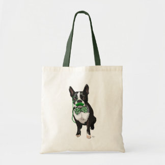 Boston Terrier With Green Moustache And Spotty Budget Tote Bag