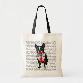 Boston Terrier With Red Tie and Moustache 2 Budget Tote Bag