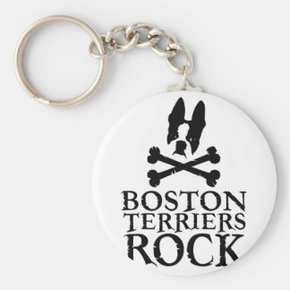 Boston Terriers Rock Basic Round Button Key Ring