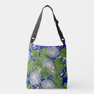 Botanical Blue Morning Glory Flowers Floral Tote Bag