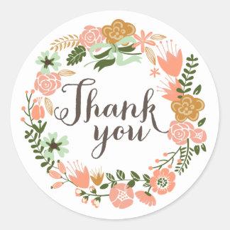 Botanical Floral Bridal Shower Thank You Round Sticker