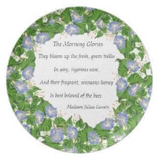 Botanical Morning Glory Flowers Floral Poem Plate