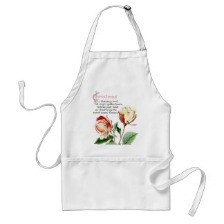 Botanical Tea Rose Flowers Floral Christmas Apron