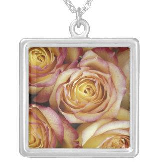 Bouquet of roses square pendant necklace