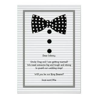 Bow Tie Identity Gray Ring Bearer Request Card 13 Cm X 18 Cm Invitation Card
