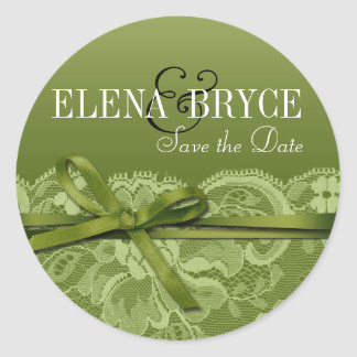 Bows Ribbon & Lace | grass Round Sticker