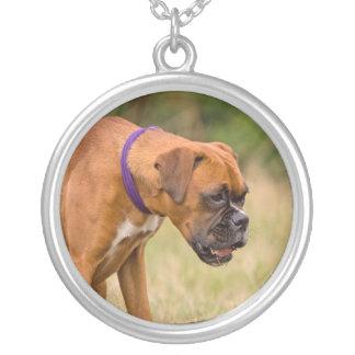 Boxer dog necklace, gift idea round pendant necklace